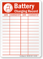 Battery Charging Record Battery Charging Area Sign