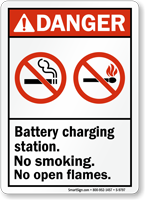 Danger Battery Charging Station No Smoking Sign