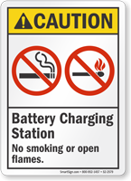 Battery Charging Station No Smoking ANSI Caution Sign
