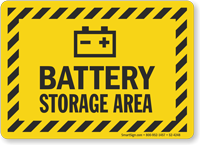 Battery Storage Area Battery Charging Area Sign