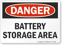 Battery Storage Area OSHA Danger Sign