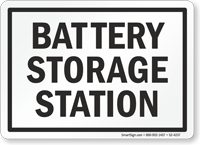 Battery Storage Station Battery Charging Area Sign