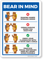 Bear In Mind: No Shaking Hands or High Five Sign