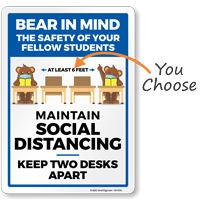 Bear In Mind: Maintain Social Distancing Signs