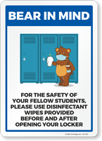 Bear In Mind: Please Disinfect Your Locker Signs