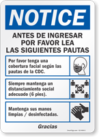 Before Entering Please Read Guidelines Spanish Sign