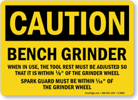 Bench Grinder OSHA Caution Sign