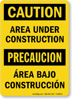 Bilingual Caution Area Under Construction Sign