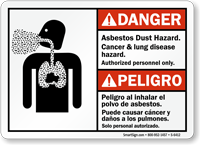 Bilingual Asbestos Dust Cancer Lung Disease Hazard Sign