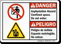 bilingual Asphyxiation Hazard Confined Space Sign