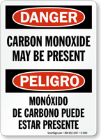 Carbon Monoxide Present Bilingual Danger Sign