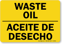 Bilingual Waste Oil Sign