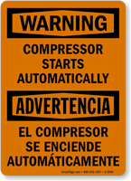 Compressor Starts Automatically Bilingual Warning Sign