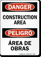 Danger Construction Area Bilingual Sign