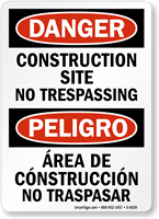 Bilingual Construction Site No Trespassing Sign