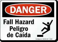 OSHA Bilingual Fall Hazard Risco De Queda Sign