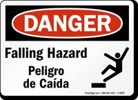 OSHA Bilingual Danger Falling Hazard Sign