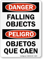Bilingual Danger Falling Objects Sign