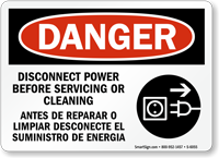 Bilingual Disconnect Power Before Servicing Sign