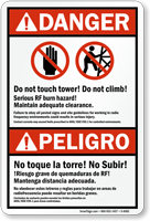 Bilingual Do Not Touch Tower Danger Sign