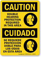 Bilingual Caution Double Hearing Protection Required Sign
