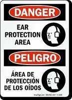 Bilingual OSHA Danger Ear Protection Area Sign