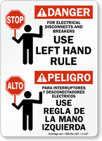 Bilingual Electrical Disconnects Use Left Hand Rule Sign