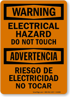 Bilingual Electrical Hazard Do Not Touch Sign