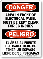 Danger Bilingual Electrical Panel Keep Clear Sign