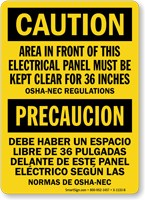 Electrical Panel Area Keep Clear Bilingual Caution Sign