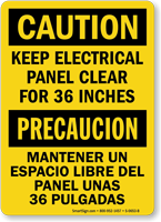 Bilingual Keep Electrical Panel Clear 36 Inches Sign