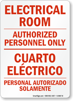 Electrical Room, Authorized Personnel Only Bilingual Sign