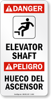 Elevator Shaft Bilingual Sign (With Graphic)