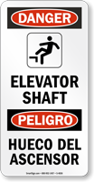 Bilingual Elevator Shaft Danger Sign With Graphic