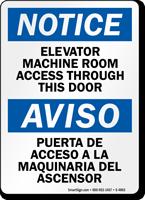 Elevator Machine Room Access Through Door Bilingual Sign