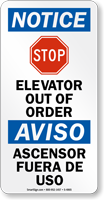 Elevator Out Of Order Bilingual Stop Sign