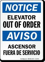 Elevator Out Of Order/Ascensor Fuera De Servicio Sign