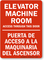 Elevator Machine Room Access Door Bilingual Sign
