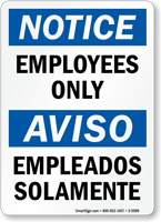 Bilingual Employees Only Sign
