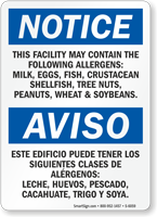 Facility Contains Milk, Eggs, Fish, Allergens Bilingual Sign
