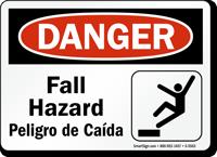 Bilingual Fall Hazard OSHA Danger Sign