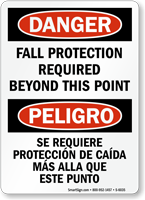 Bilingual Fall Protection Required Beyond Point Sign