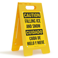 Bilingual Caution Falling Ice And Snow Standing Sign