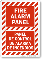 Bilingual Fire Alarm Panel Sign