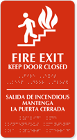 Fire Exit Keep Door Closed (bilingual) Sign