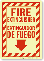 Bilingual Fire Extinguisher Extinguidor De Fuego Glow Sign