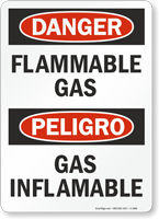 Danger Flammable Gas / Peligro Gas Inflamable Sign