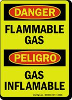 Bilingual GlowSmart Danger Flammable Gas Sign