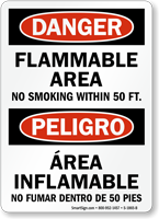 Flammable Area No Smoking 50 Ft. Bilingual Sign