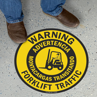 Bilingual Warning Forklift Traffic Slipsafe™ Floor Sign